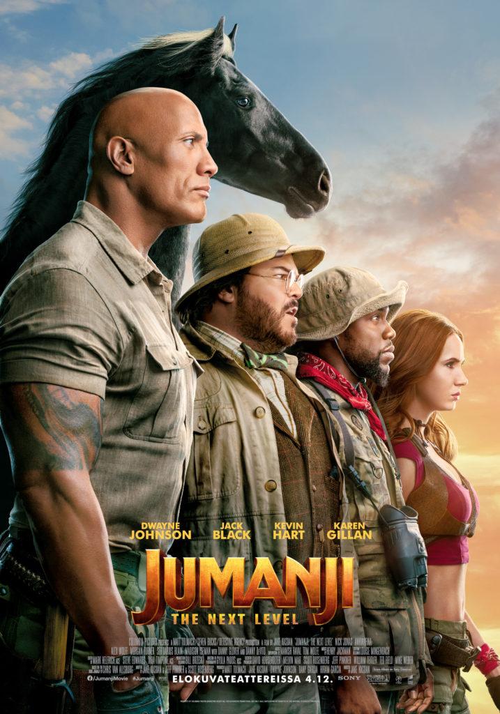 Jumanji: The Next Level -elokuvan julisteessa sankarit katsovat auringonlaskuun.